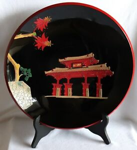 Japanese Ryukyu Lacquer Ware Wood Plate Tray Black Okinawa Vintage With Stand