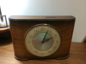 Untested Vintage Time Savings Clock Wind Up Wooden Mantle Clock