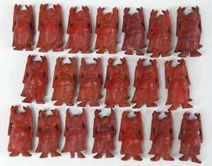 Vintage Chinese Carved Wood 2 Mini Buddha Figurine Lot Red 20 Glass Eyes