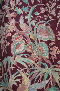 Antique French Floral Indienne Fabric Bed Cover Exotic Birds And Flowers