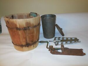 Vintage Wooden And Metal Ice Cream Maker