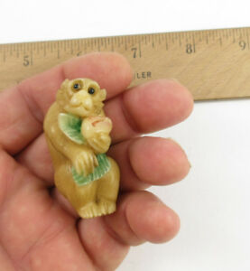 Vintage Japanese Chinese Carved Tagua Nut Monkey And Peach Netsuke Statue