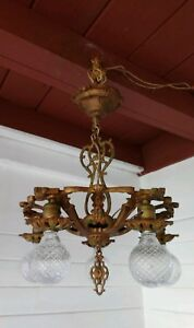 Antique Art Nouveau 1920s Ceiling Light Polycrome Chandelier Original