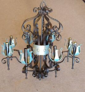 Large Italian Wrought Cast Iron 8 Arms Vintage Castle Chandelier 26 X27