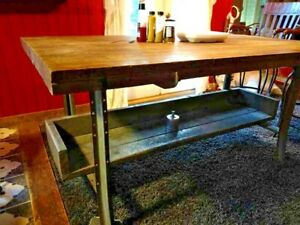 Vintage Industrial Wood Butcher Block Kitchen Island Table Work Table