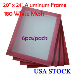 6 Pack 20 X 24 Aluminum Frame With 180 White Mesh Silk Screen Printing Screen