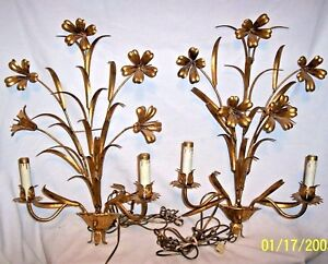 Spectacular Pair Of 2 Light Sconce Golden Wall Lamps Mid Century Lilies Flower
