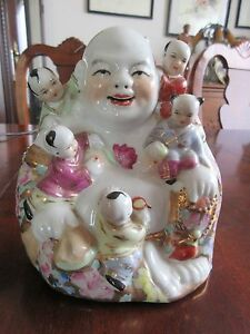 Vintage Chinese Famille Rose Porcelain Happy Buddha With 5 Children Marked