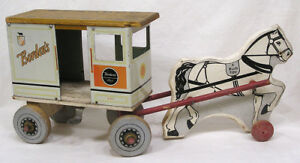 Vintage Bordens Milk and Cream Tin & Wood Horse Drawn Truck 1930s A Rich Toy