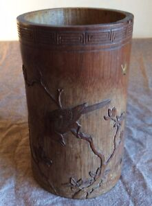 Antique Japanese Carved And Lacquer Decorated Bamboo Brush Pot Meiji Period