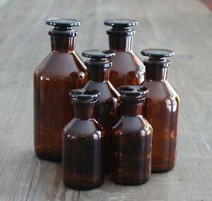 Lot Of 6 Vintage Brown Apothecary Bottles Glass Stoppers Vitro Usa