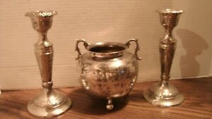 Vintage Set Of Candle Holders Bowl Possibly Silver Plated Not Stamped
