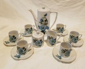 17 Piece Coffee Tea Chocolate Set Blue Rose Made In Japan Elegant Demitasse Set