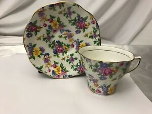 Rosina 5021 Gold Purple Pink Blue Yellow Florabone China Tea Cup Saucer England