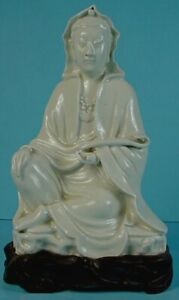 19thc Chinese Blanc De Chine Porcelain Seated Guanyin With Ruyi Scepter Figurine