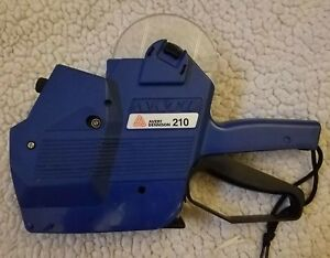 Avery Dennison 210 Price Label Gun Hand Labeler Two Lines Blue euc Works