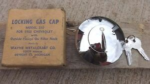 Nors 1953 Chevy Locking Gas Cap W Keys Older Aftermarket Wayne Metalcraft 742