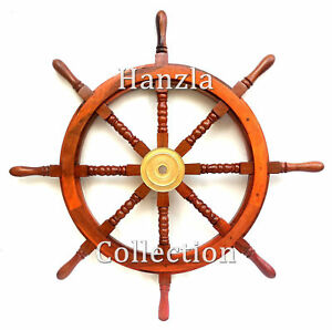 36 Brass Wood Ship Wheel Nautical Vintage Decor Boat Steering Replica Style