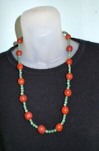 Vintage Chinese Cinnabar Jade Beads Silver Clasp Carved Beads Necklace 25