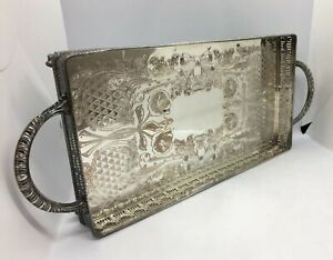 Large Ornate Footed Serving Tray Viners Sheffield Silver Plate On Copper