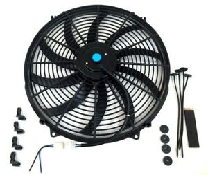 16 Electric Fan Curved Blades S Radiator Cooling Fan 3000 Cfm Reversible 12v