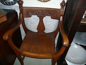 Incredible Vintage Oak Curved Back Seat Chair Detailed Carving C1800s