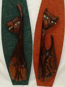 Vtg Witco Cat Plaques Mid Century Tiki Modern Lounge Wall Art Danish Mod Decor
