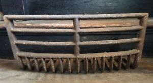 Antique Late 1800 S Ovaled Face Cast Iron Fireplace Grate Insert Log Holder