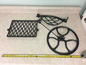 Vintage Singer Treadle Sewing Machine Cabinet Parts Foot Pedal Flywheel Guard
