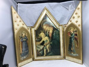 Wood Antique Italian Florentine Madonna Angels Triptych Alter Icon 19 Tall