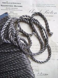 1 Yd Vintage Antique French Pewter Color Metallic Rope Cord Trim 5 16