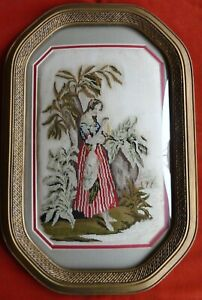 Antique 1890 Needlepoint Embroidery French West Indies Curved Glass