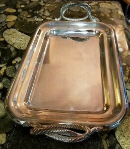 Vintage Job Art Italian Silver Plated Serving Plate Tray Platter W Handles