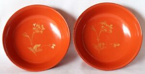 Japanese Vintage Lacquer Wood 2 Small Plate Bowl Vermilion Flower Gold Inlaid