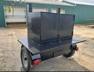 Square Weekender Bbq Smoker 48 Grill Trailer Food Truck Mobile Kitchen Business