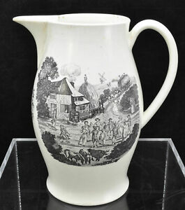 Antique Liverpool Large Creamware Farmer S Arms Pitcher Jug Circa 1770