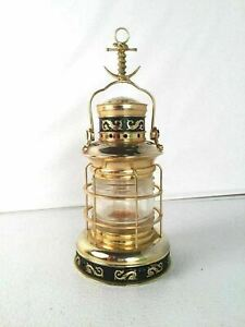 Brass Ships Lantern Vintage Candle Glass Anchor Snake Compass Design
