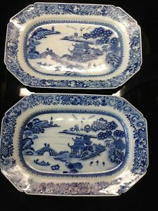 Pair Of Antique Chinese Blue White Scenic Platters