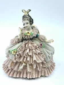 Vintage Dresden Frankenthal Porcelain Lace Woman Sitting With Fan
