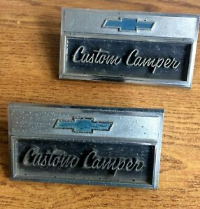 Set Of 1966 Chevrolet Pickup Truck Custom Camper Emblems 3882674 Nice Vintage