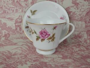 Vintage 70s 80s Tea Cup And Saucer Floral Rose With Gold Trim