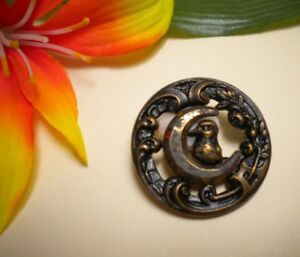 Antique Victorian Bird And Crescent Cut Steel Moon Pierced Metal Picture Button
