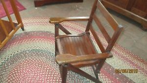 Vintage Childs Slatted Wood Folding Chair W Arms