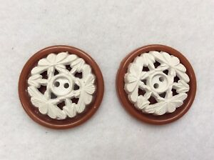 Euc Celluloid Buttons Ivory And Brown Stacked Pierced Carved Vintage Antique
