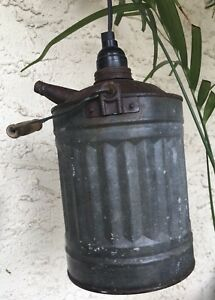 Antique Oil Can Gas Can Pendant Light Hanging Lamp Rustic Vintage Aluminum