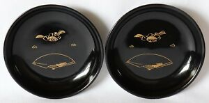 Japanese Lacquer Wood 2 Small Plate Black Gold Inlaid Plum Folding Fan Vintage
