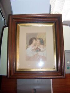 Antique Walnut Deep Picture Frame And Little Girls Chromolithograph App 12 X 14