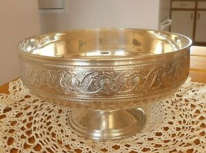 Antique Whiting Sterling Silver Ribbon Of Grisaille Footed Open Bowl 715 Grams