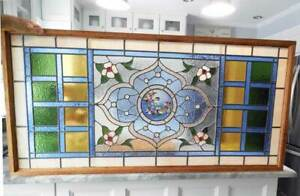 Antique Stained Leaded Glass Window W Jewels Birds Large Outstanding