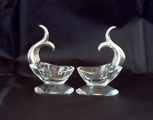 Sterling Silver Cut Crystal Fish Dolphin Tail Salt Cellars Made In Germany W Box
